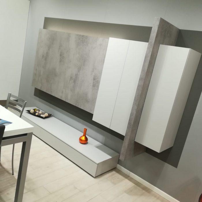 Mobile soggiorno in finitura Grigio Dorian e Cemento Masdar